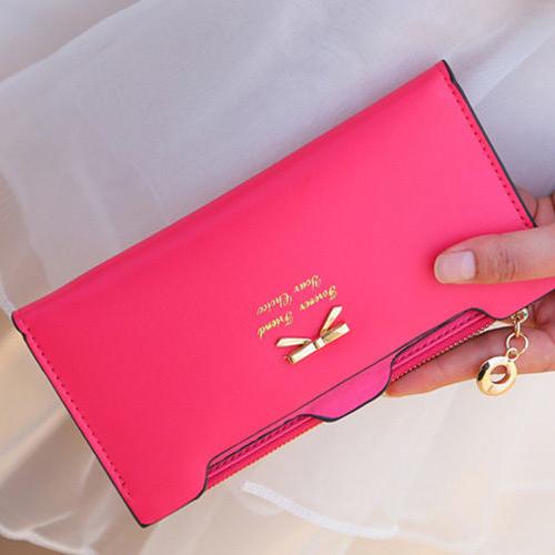 2016 Womens Cute Handbag Mini Wallet Faux Leather Bowknot Clutch Long Card Purse <br><br>Aliexpress