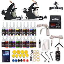 Beginner tattoo starter kits 2 guns machines 20  ink sets power supply  needle pedal tips  D175GD-8