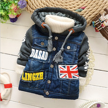 Baby Boys Jacket Clothes 2015 New Winter 2 Color  Denim Outerwear Coat Thick Kids Cowboy Clothes Children Clothing With Hooded(China (Mainland))