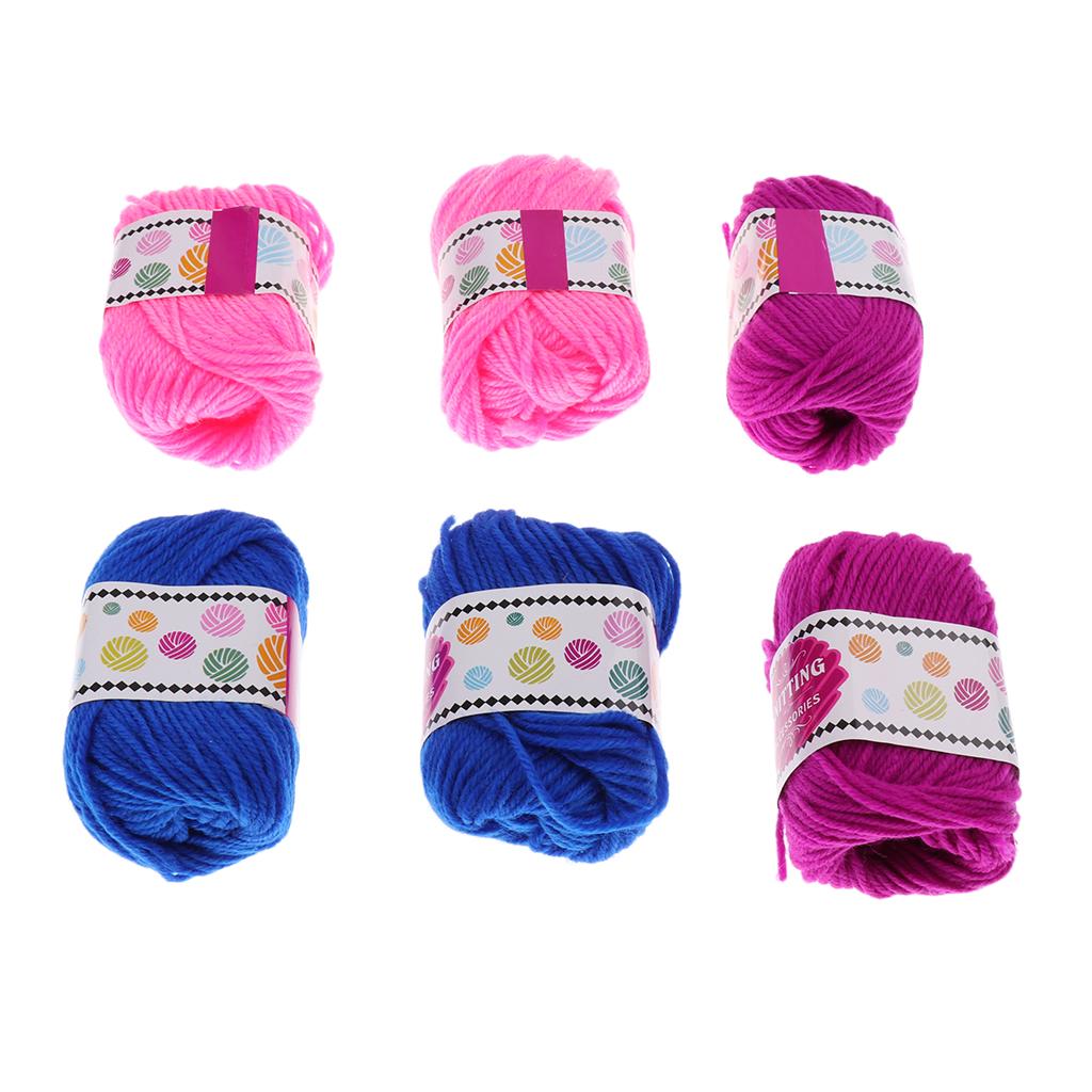 6 Rolls/pack Woolen Yarn for Knitting Machine DIY Scarf Hat Sock Craft Weaver Knitter Role Pretend Game Toy Girls Kids Gifts
