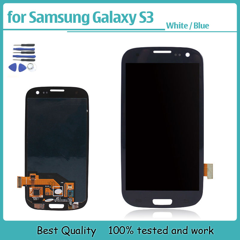 Фотография White Blue LCD display For Samsung Galaxy S3 i9300 Glass Touch Screen Digitizer Assembly Replacement +Tools