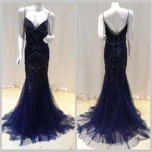 Real Photo Royal Blue Gold Long Mermaid Evening Dress Gown V-Neck Crystal Beaded Prom Dresses Sling 2017 Plus Size - JC&STAR Senior Tailored Store store