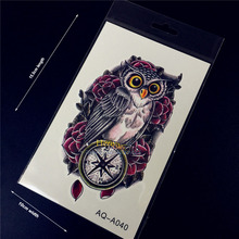 1PC Fashion Flash Temporary Tattoo Sticker Men Women Arm Shoulder Makeup Fake Tattoo Owl Compass Rose Design Armband Tatoo AQA40
