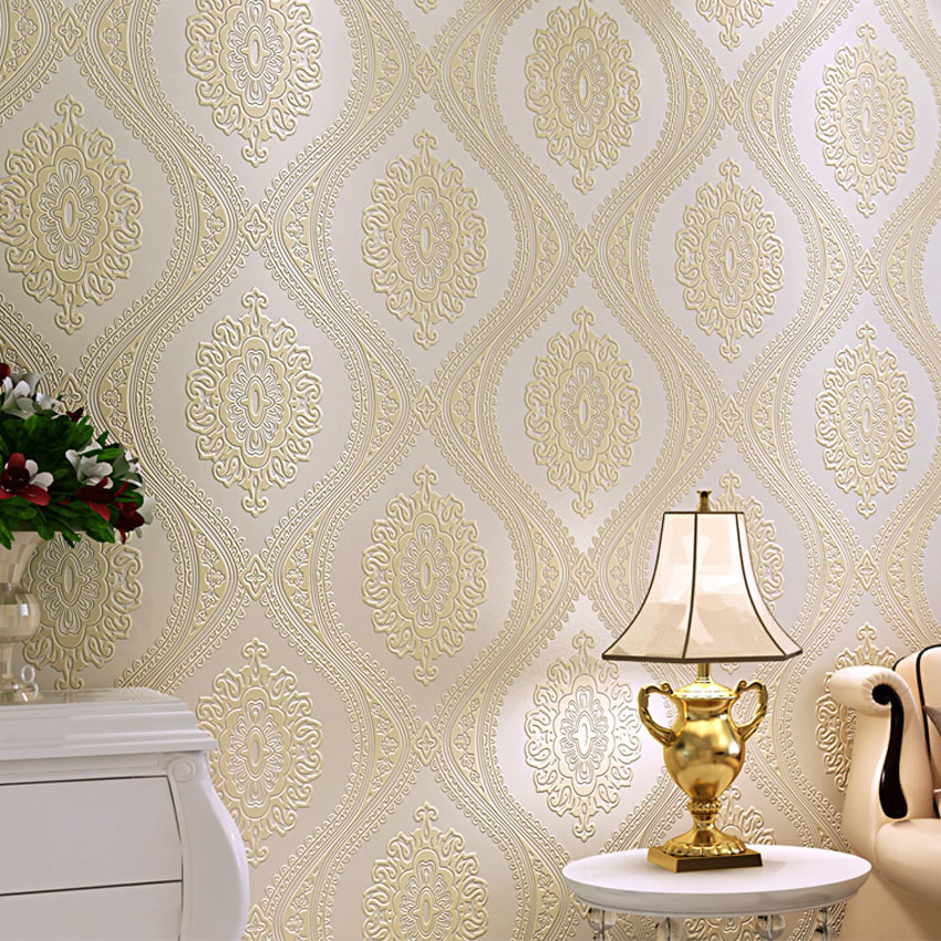 3d luxury european wallpaper damask modern non woven for 3d wallpaper roll