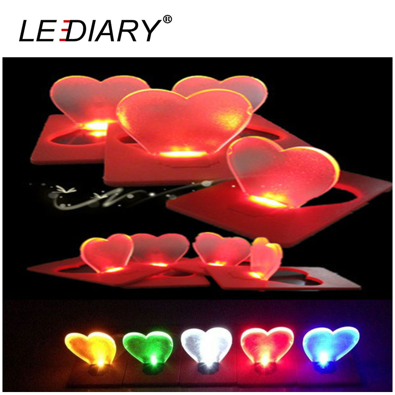 5Pcs/lot LED Portable Card Lamp Heart Shape Same Size As Credit Card In Wallet For Romantic Decoration Show Love Free Shipping(China (Mainland))