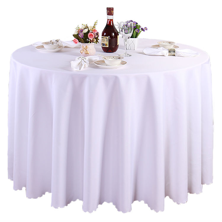 free shipping 10 pieces 108 inch white 100% polyester round tablecloth linen for wedding party banquet table linen(China (Mainland))