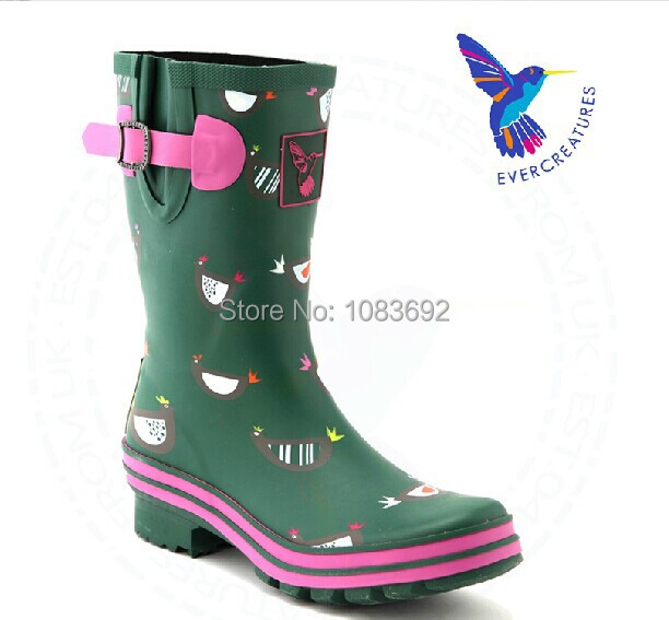 British brand Evercreatures 2014 new  Free shipping Thin womens fashion rain boots mid-calf  boots for women<br><br>Aliexpress