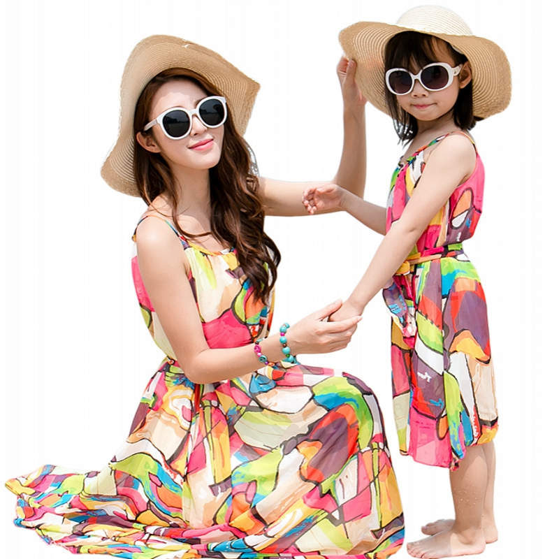 Mother daughter dresses font b clothing b font summer colorful Baby Girls Dress Family Matching Outfits