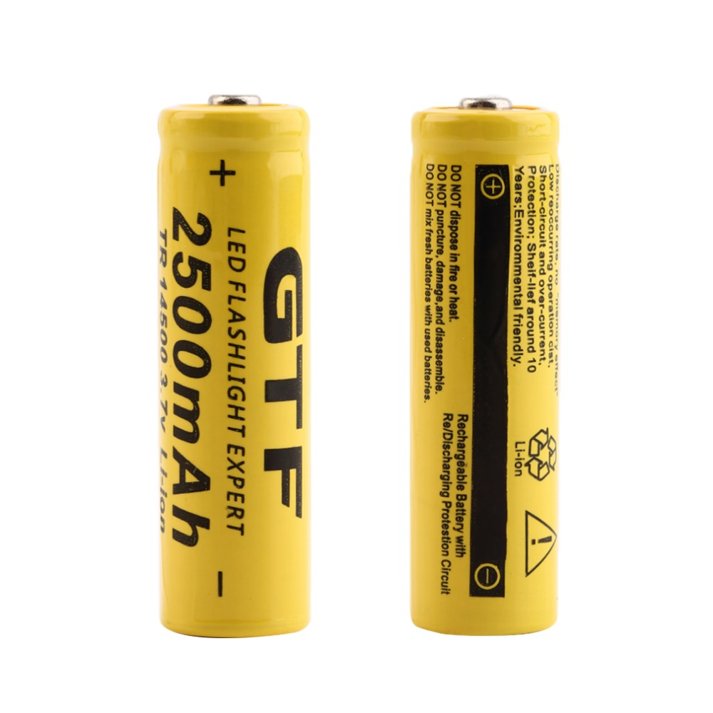 New 2pcs Original TR 2500mAh 14500 3.7V Rechargeable Li-ion Batteries 14500 Battery Lithium Ion Baterias Yellow Wholesale(China (Mainland))