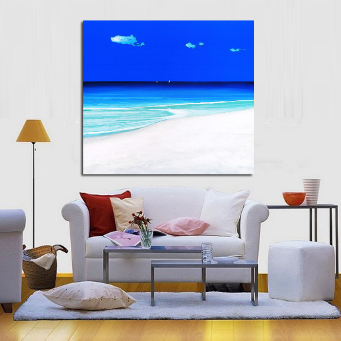 Modern Abstract Art Blue Sky Seaside View Oil Painting Abstract Handpainted Wall Art on Canvas Wall Stickers Pictures Home Decor(China (Mainland))