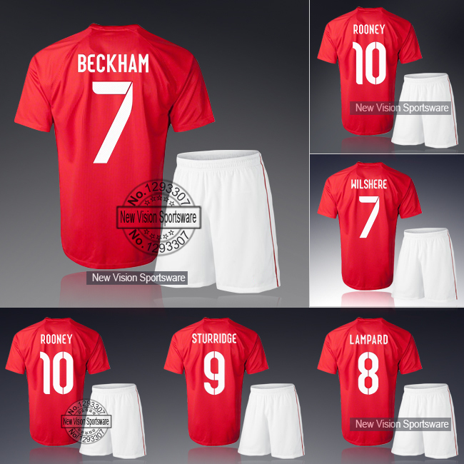 2014 Embroidery Red Away Beckham Rooney Lampard Sturridge Gerrard Soccer Jersey Uniform Men Sports Shirt Outfit Football Kit Set(China (Mainland))