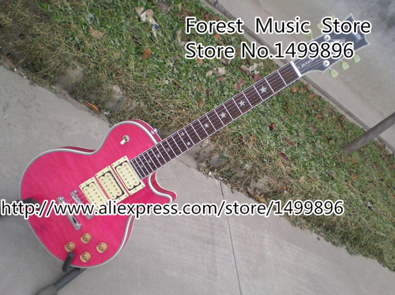 China Custom Shop LP Electric Guitars Star Inlay Pink Quilted Guitarra Left Handed Available Free Shipping(China (Mainland))