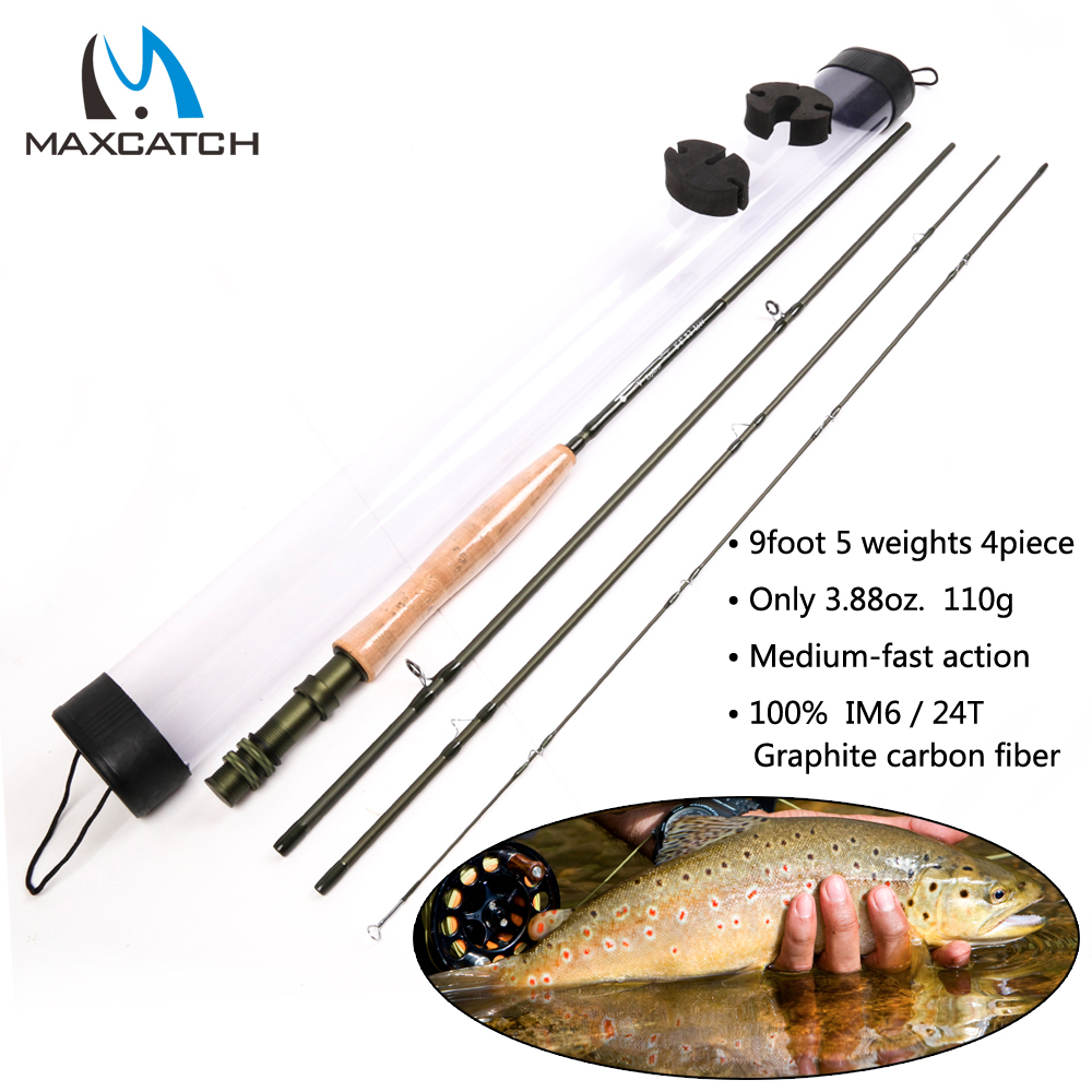 Maxcatch 5 Weight Trout Fly Fishing Rod 9 FT--4 Piece Medium Fast Action Plastic Tube Fly Rod(China (Mainland))