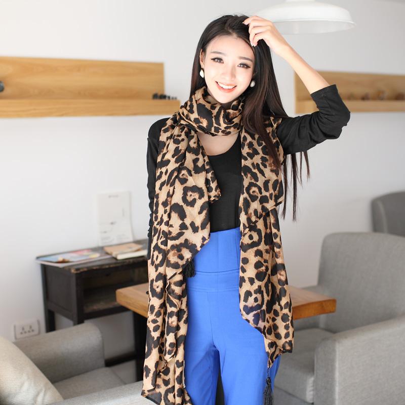 2013 fashion yellow leopard print scarf silk scarf cape dual black tassel pendant ultra long ultralarge(China (Mainland))