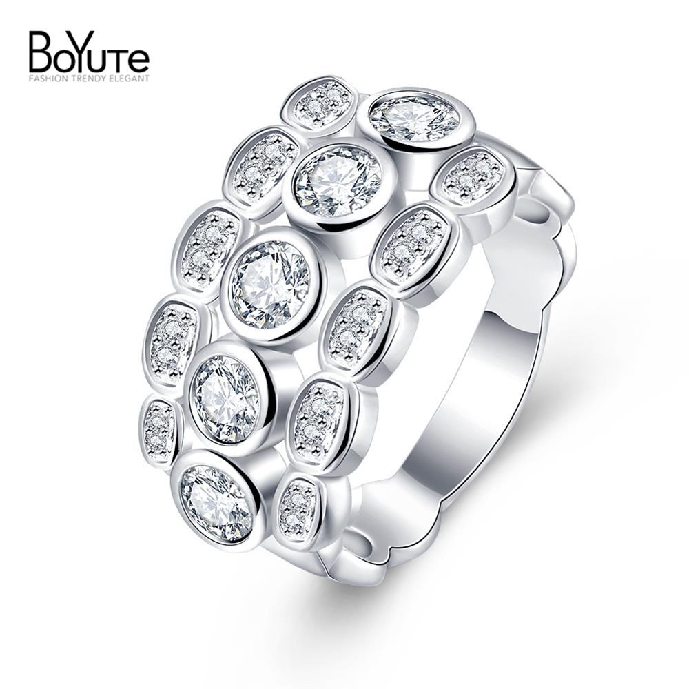 Excellent Silver Plated Luxury 3 Rounds Ring Bijoux Fashion Wedding Ring Sets CZ Diamond Jewelry For Women Ladies Gift(China (Mainland))