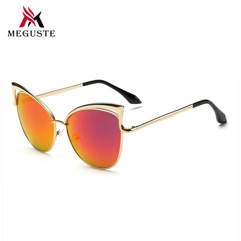 MEGUSTE hot selling fashion Cat Eye gold Metal Frame red mirror lens sunglasses women brand designer.culos de sol feminino.(China (Mainland))