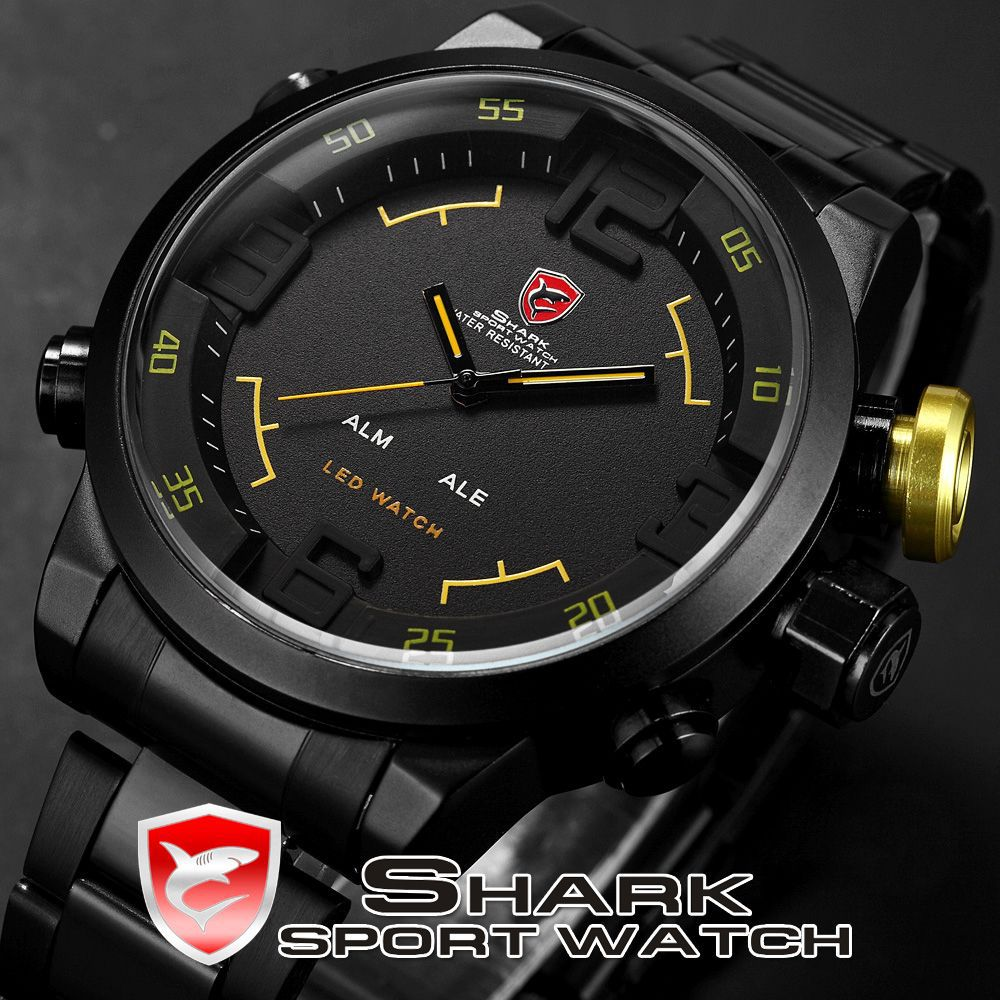 Military Army SHARK Analog LED Stainless Steel Black Yellow Reloj Hombre 3 ATM Sport Quartz Wrist Men's Digital Watch / SH107(China (Mainland))