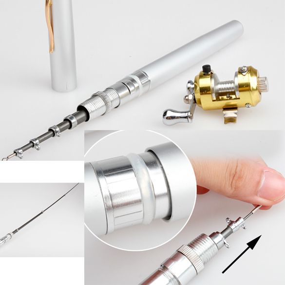 Mini Camping Travel Fish Pen Fishing Rod Pole Reel No Shipping Fee K5BO