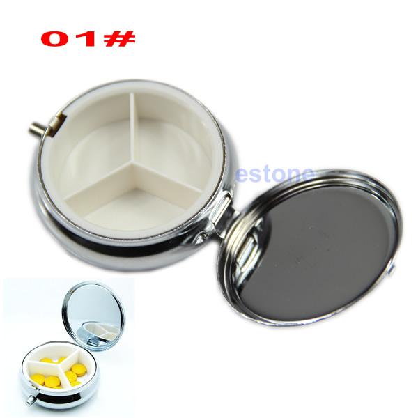 Metal Pill boxes DIY Medicine Organizer Container Medicine Case Silver Color Free Shipping(China (Mainland))