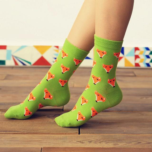 Марка Caramella каваи лиса мультфильм носки новинка женщины и мужчины милые животные трубке носки смешные чистого хлопка с носок