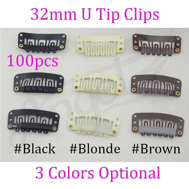 Charlie's Angels 100pcs 32mm U Tip Snap Metal Clips With Silicone Back For Clip In Hair Extensions/Weft/Wig(China (Mainland))