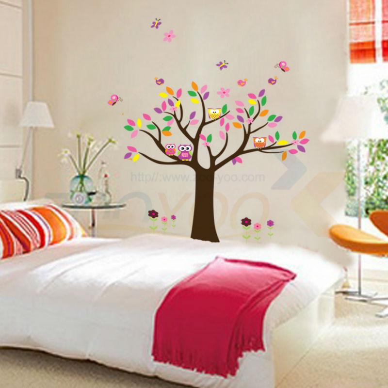 Bella colorfull albero gufi per home decor adesivo zooyoo5084 decorativo adesivo de parede pvc estraibile wall sticker *