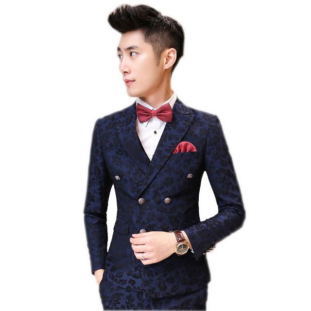 (Jackets+Pants+vest+tie) High Quality Menu0026#39;s Casual Printed Suit Printed Blazer Wedding Dress ...