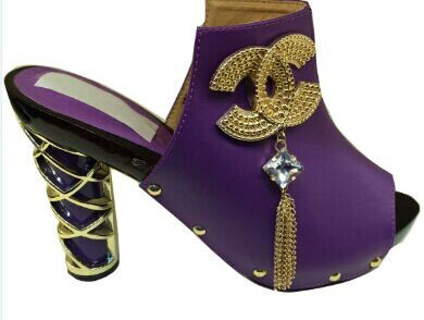 Wonderful party/wedding shoes series African high heel sandal with metal chain decoration for lady MD05 purple(China (Mainland))