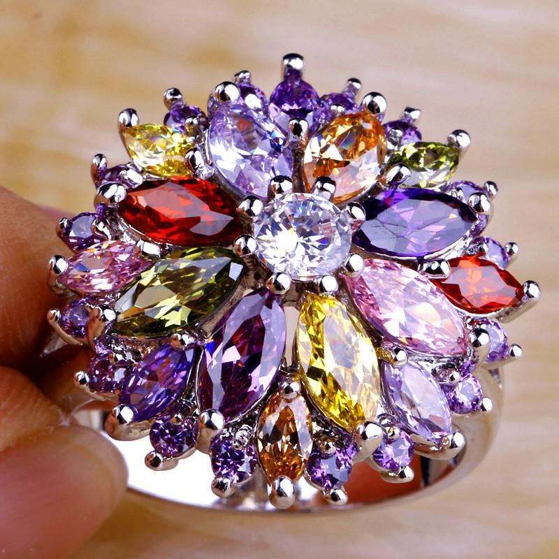 Free Ship Peridot Garnet Citrine Amethyst White Topaz 925 Silver New Ring Size 7 8 9 10 Women Jewelry Flower Design(China (Mainland))