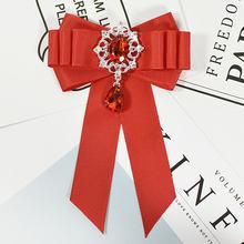 Aku-Remiel Merah Pita Beludru Dasi Bros Kerah Pin dan Bros Blus Wanita Pakaian Aksesoris Fashion Perhiasan brocade(China)