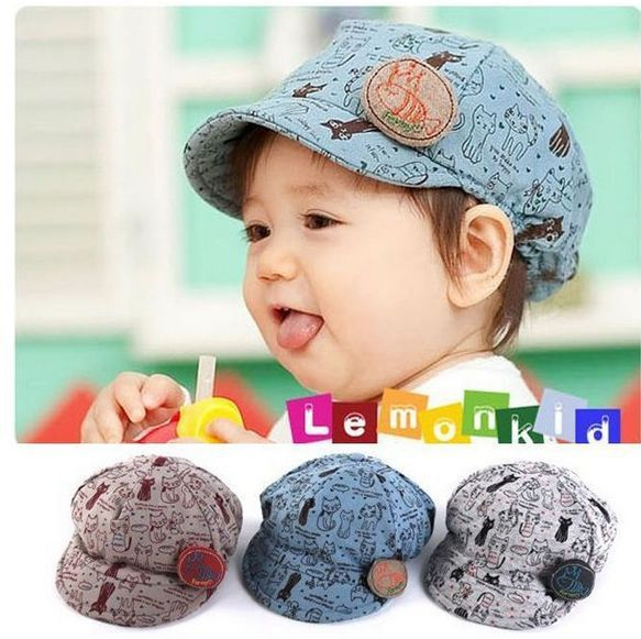 (1pcs/1lot free shipping) Boys Girls Cartoon Cat Printed Peak Cap Kids Short Brim Sun Hat Children Infants Visor Cap Headwear