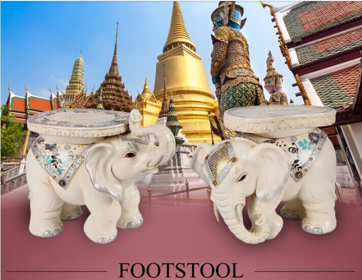 Hot White Elephant shape ottoman sofa stool footstool Antique footrest home furniture big size lucky crafts desktop decoration(China (Mainland))