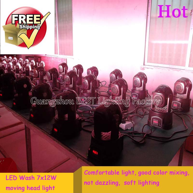 Advanced 7/12 channels led mini wash moving head light 7x12w rgbw 4in1(China (Mainland))
