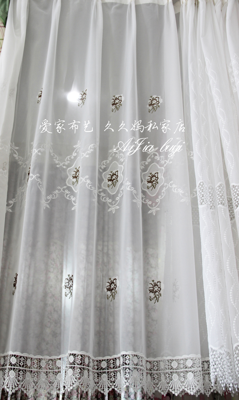 2014 New Customize 1 Meter Top Quality Embroidered Rose Romatic Lace Sheer Curtain Stripe