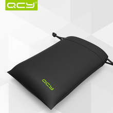 Mini QCY Pouch Carrying Storage Case Bag Shockproof Earhone Headphone Pouch Waterproof Black PU Mini Packaging Receive Bag