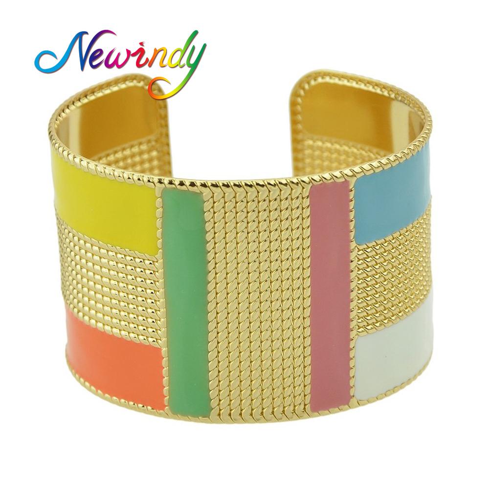 Newindy Punk Style Colorful Enamel Open Cuff Bracelets&Bangles Wide Geometric Big Statement Bracelet For Women Jewelry bijoux(China (Mainland))