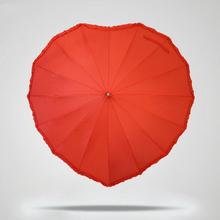 Buy Beautiful Heart Shape Lace 16K Red Wedding Umbrella Women Long Handle Parasol Lovers Romantic Sunny Rainy Umbrella for $21.99 in AliExpress store
