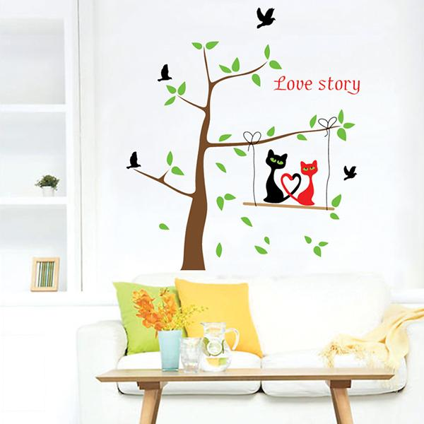 Family Picture Photo Frame cat on the tree DIY home Wall stickers Family Wall Stickers Mural Art Home Decor,hot sale(China (Mainland))
