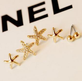 2016 Fashion Elegant Rhinestone Sea Star Starfish Earrings Women Girls 3 Pairs/One set !! XY-E22 - XY Jewelry Company (Min order $8 store)