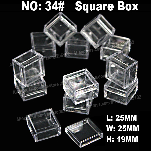 24pcs/lot square jewelry boxes,plastic acrylic cosmetic nail-art Pill box case,portable storage container,diy parts stones tools(China (Mainland))