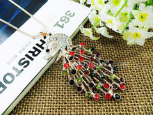 hot sale fashion necklace Gold plating colorful sweater long drill peacock necklace fashion jewlery accessories free