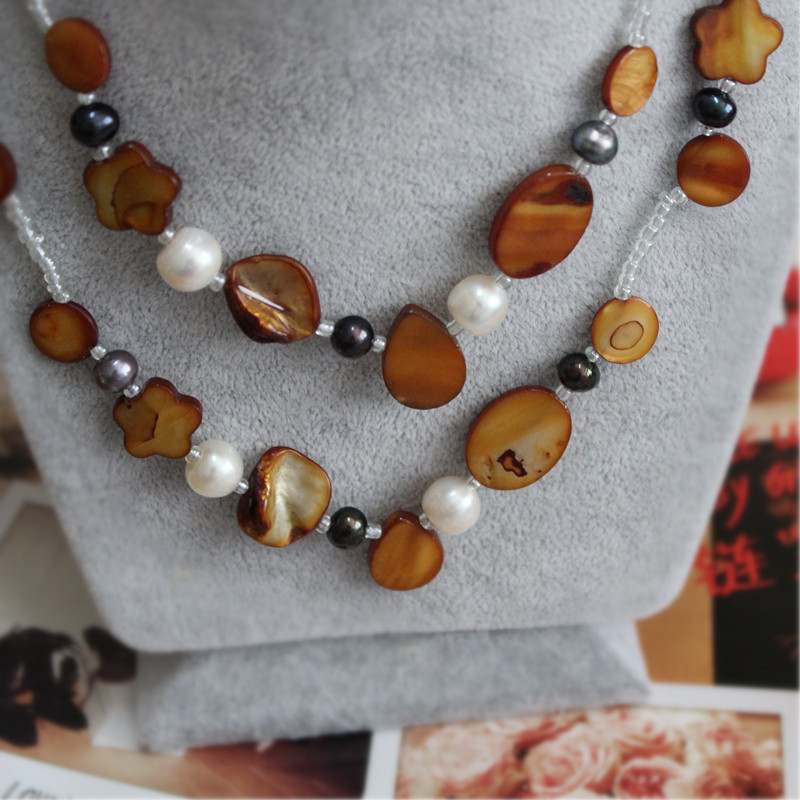 2015 New Real Collier Accessories Jewelry Diy Natural Pearl Long Necklace / Teardrop Flowers Deep Amber Bronze Retro Personality(China (Mainland))