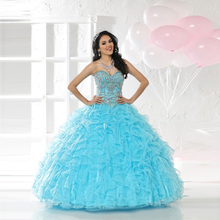 2016 Summer Style Puffy Skirt Sweetheart Crystals Organza Lace up Blue Ruffles Quinceanera Dresses Ball Gown(China (Mainland))