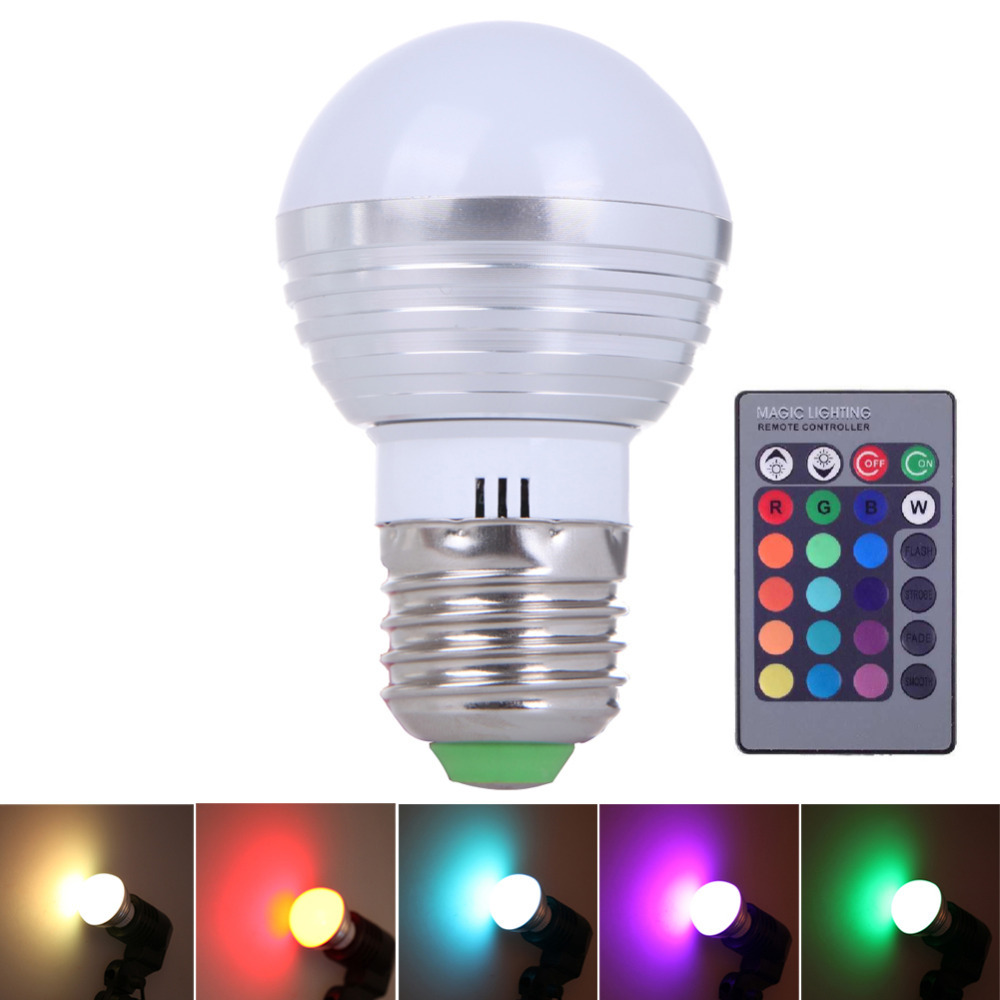 Гаджет  E27 LED RGB 16 Colors 3W Change Lamp Light Bulb 24 key IR Remote Controller DJ Disco Ball LED Stage Laser Light Party Lights None Свет и освещение