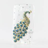 New Fashion Diamond Blue Crystal Peacock Hard Case For Samsung Galaxy Grand Duos i9082 9082 Handmade