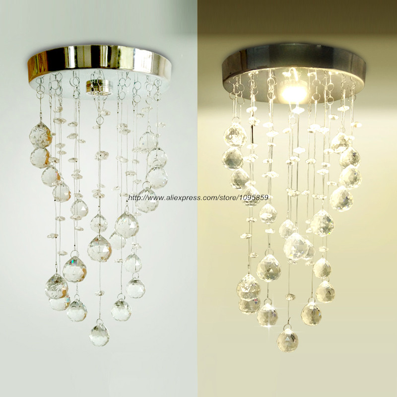 Фотография Free Shipping Modern LED 5W Chrome K9 Crystal Pendant Light Lamp Bedroom Ceiling Fixture Lighting
