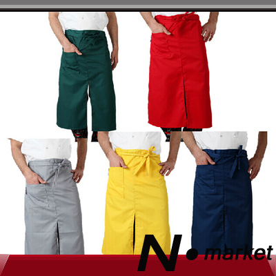 2016 New Colorful Long Size Lengthen Cotton Chef Apron Split Ends Pure Cook Aprons For Resturant Kitchener(China (Mainland))