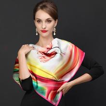 Female Silk Scarf Cape 2016 New Design Rainbow Spring Autumn 70*70cm Medium Satin Scarves Large Digital Inkjet Bright Scarf(China (Mainland))
