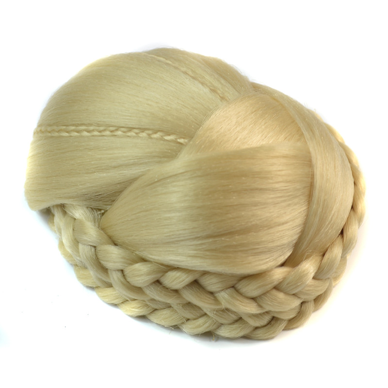 60g Knitted Beige Hair Chignon Synthetic Donut Roller Hair Pieces Buns 1pc braided bun hairpiece For Brides Free Shiping <br><br>Aliexpress