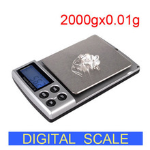 Holiday Sale 2000g x 0.1g Pocket Electronic Digital Jewelry Scales Weighing Kitchen Scales Balance(China (Mainland))